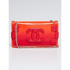 Pre-owned Chanel Red Ombre Plexiglass and Leather Boy Brick Horizontal... ($2,475) ❤ liked on Polyvore featuring bags, handbags, preowned handbags, chanel handbags, quilted leather purse, leather purses and real leather purses