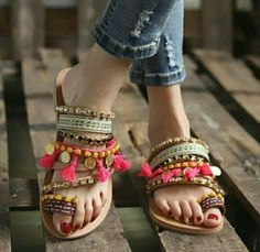 We've got you covered with our one designer piece of variety of the final word in feisty heeled flip flops. Boho Sandals, Sandals Outfit, Fashion Sandals, Flat Sandals, Women Sandals, Stylish Sandals, Gladiator Sandals, Fashion Rings, Leather Sandals