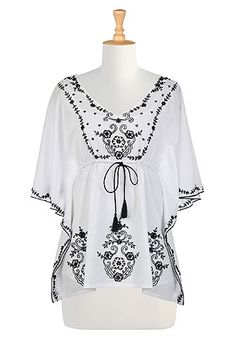 I <3 this Floral embellished voile caftan top from eShakti