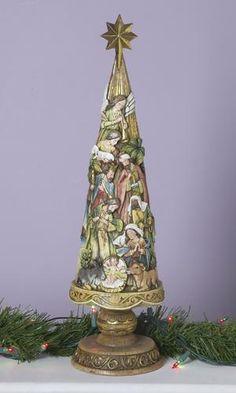 Carved Nativity Tree