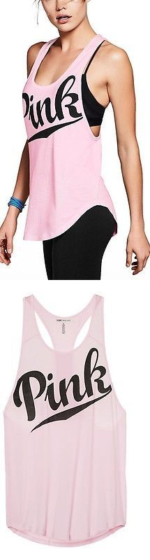 Women T Shirts: Victorias Secret Pink Tank Top Shirt Y-Back Yoga Huge Logo M Medium Nwt BUY IT NOW ONLY: $31.99