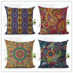 Fashion Bohemian Style paisley Printed Houseware Decor Cojines Printed Sofa Pillow Throw Linen Cotton Pillow Cushion Almofadas