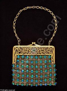 American Art Nouveau beaded purse attributed to Tiffany