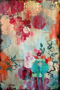 Kathe Fraga Art, www.kathefraga.com Kathe's paintings are inspired by the romance of vintage French wallpapers and Chinoiserie with a modern twist. 36x24 on frescoed panel with Japanese gold ink.