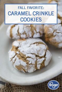 You can taste the sweet flavors of fall in every bite of these Caramel Crinkle Cookies. With just a dash of vanilla, a hint of caramel, and a dusting of powdered sugar, you can create an indulgent dessert recipe for your whole family to enjoy. This tasty recipe works great as an after-school snack when paired with a cold glass of milk.