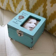 A personalized Baptism Keepsake Box! Such a lovely teal color, and it has a kinda rustic finish to give it character.