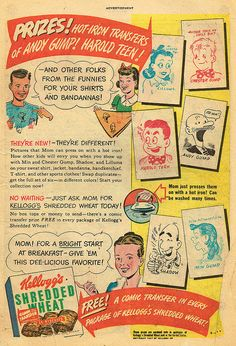 Back in the 1947, Shredded Wheat included iron-on transfers of classic comic book characters, though I doubt even that got kids too riled up eating them ;D #cereal #1940s #vintage #food #ads