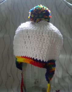 White & Multi-color stocking hat.  2 inch by CraftinginSeattle