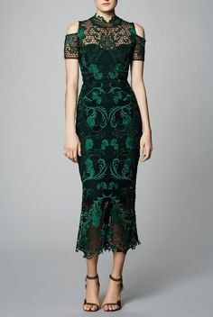 Marchesa Notte Dark Green Guipure Lace Tea Cocktail Dress | Poshare
