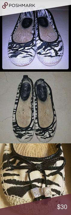 MK FLATS MICHEAL KORS  Zebra print Espadrilles Canvas FLATS Michael Kors Shoes Flats & Loafers