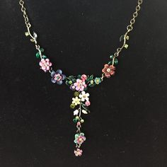 """HP!  2x!  Orly Zeelon flower necklace 18"""" Stunning design made of crystals, brass and enamel.  Flowers and leaves.  Handmade by Orly Zeelon! Orly Zeelon Jewelry Necklaces"""