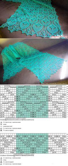 Knitting Scarf Lace Shawl Patterns 58 New Ideas Lace Knitting Patterns, Shawl Patterns, Knitting Charts, Lace Patterns, Free Knitting, Knitting Machine, Lace Knitting Stitches, Knitting Scarves, Finger Knitting