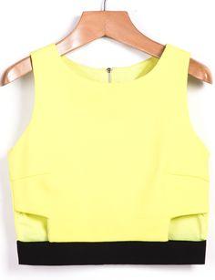 Yellow Sleeveless Skinny Crop Vest 16.83