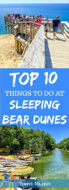 Our Top 10 Things to do at Sleeping Bear Dunes in Michigan are awesome Road Trip Ideas and Michigan Travel Destinations! Michigan lighthouses, crazy dune climbs, outrageous kayaking and more! Traverse City Michigan, Torch Lake Michigan, Michigan City Indiana, South Haven Michigan, Petoskey Michigan, Northern Michigan, Higgins Lake Michigan, Arcadia Michigan, Mackinaw Island Michigan