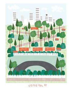 Central Park NY 11x14 print city illustration by confettielove