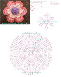 Como tejer una flor en capas a crochet o ganchillo12