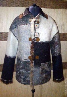 Купить Дубленка мужская валяная - серый, валяное пальто, флис ромни, дубленка валяная