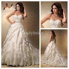 Sweetheart Silver Beaded Ivory Organza Ball Gown Modest Wedding Dress