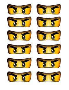 Lego ninjago eyes cutout for birthday party balloons, cake, cupcakes, water…