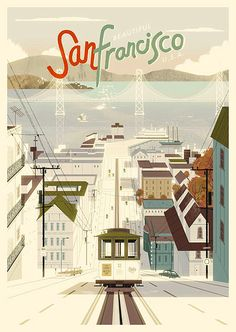 Vintage Illustration San Francisco Vintage Style Poster Illustration by Kevin Dart - San Francisco. This is a lovely poster illustration of San Francisco by illustrator and designer Kevin Dart. The illustrator created a vintage style The Places Youll Go, Places To Go, Poster S, Vintage Travel Posters, Art Deco Posters, Retro Posters, Film Posters, Illustrations Posters, Architecture Illustrations