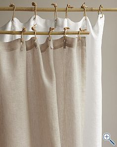 Love the ties on this linen shower curtain!