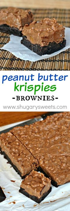 Peanut Butter Krispies Brownies: Rich, fudgy chocolate brownies topped with Rolos and peanut butter krispie topping! Brownie Toppings, Brownie Recipes, Cookie Recipes, Dessert Recipes, Cup Brownie, Brownie Desserts, Fudge, Just Desserts, Delicious Desserts