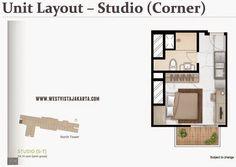Unit layout Studio (Corner) apartemen #WestVistaJakarta