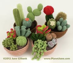 Crocheted cacti, by June Gilbank of PlanetJune.com (via blog.craftzine.com)