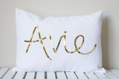 Gold Sequined Name Cushion by MaxandMeHomewares on Etsy