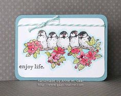 Enjoy Life Chickadees ATC (64th) by Anne Gaal. See all my artist trading cards (ATCs) at: http://www.atcsforall.com/forum/gallery/index.php?u=3647 or visit my blog at: http://www.gaalcreative.com    Feel free to re-pin! ♥