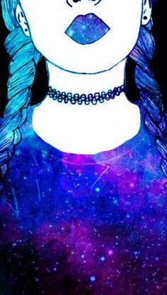 Fondo galáctico chica rebelde Emoji Wallpaper, Cute Wallpaper Backgrounds, Tumblr Wallpaper, Pretty Wallpapers, Girl Wallpaper, Galaxy Wallpaper, Tumblr Drawings, Cute Drawings, Digital Art Girl