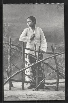 OPOI: Batavia Girl on Batik ~ Java ~ Indonesia ca 1910