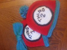 Thing 1 / Thing 2 crochet beanie - preemie to adult sizes. We can add Thing 3, Thing 4, etc 12.50 each plus 2 dollar additional shipping on Etsy, $25.00