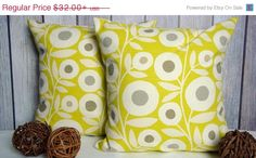 Pillow Covers. Yellow Pillows. Green Pillows. Floral Pillows. Accent Pillow. Modern Pillow. Pillows    This listing is for a set of two (2) pillow