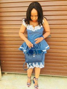 beauty of shweshwe dresses top of africa 2020 South African Dresses, South African Traditional Dresses, African Wear Dresses, African Wedding Dress, African Attire, Seshweshwe Dresses, Women's A Line Dresses, Latest Ankara Dresses, Everyday Dresses