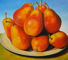 Red Pears in Meadow  48x54 - Carmelo Sortino