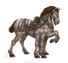 SLEIPNIR - this is the eight-legged horse that is the favorite horse of ODIN. It was created by LOKI and then given to ODIN as a gift. For this, it is said that LOKI had to change himself into a mare (female horse) and then give birth to the eight legged horse. SLEIPNIR is the symbol of the wind, and had the marks of hell. The horse could just as easily gallop through the air as on land.