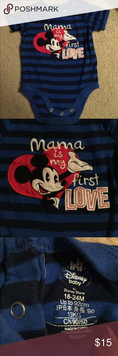 """Disney Mickey Mouse Onesie Used Disney onesie size 12-18months, no stains or flaws has Mickey mouse says """"Mama is my first love"""" perfect for valentines day or any day. Disney, disney kids, mickey mouse, first love Disney One Pieces Bodysuits"""