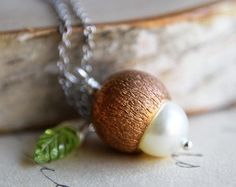 Acorn Necklace Peridot August Birthstone Swarovski by PoleStar, $33.00