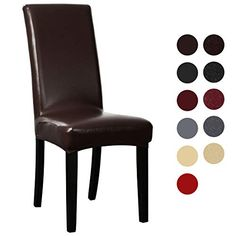 Dining Chair Covers Coffee My Decor Solid Pu Leather Waterproof Stretch Dining Chair Protctor Cover Slipcover 4 Pack