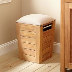 Teak Laundry Hamper Stool - Small This is really expensive but it has a bench and hamper. Must be short though!