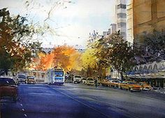 2014 - David Taylor - Jump Ahead in Watercolor Gouache Painting, Painting & Drawing, Watercolor Paintings, Watercolor City, Watercolor Landscape, David, Australian Artists, Art Pictures, Creative Art