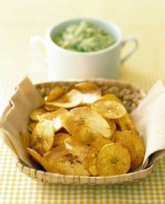 Banana Avocado Dip with Plantain Chips | Martha Stewart Living - This is a sweet, smooth dip with healthy fats for your little ones.