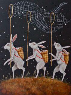 Star Catchers artist print by elizabethfoster on Etsy Art And Illustration, Rabbit Art, Bunny Art, Print Artist, Art Inspo, Illustrators, Folk Art, Fine Art Prints, Original Paintings