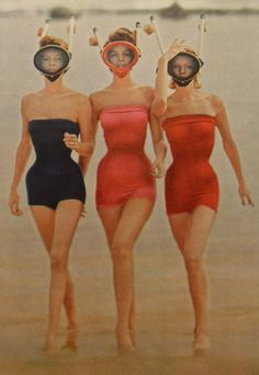 1950s Bathing Suits Women | 1950s Midcentury Three women in Swimsuits and Snorkle Masks Fashion ...