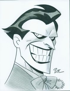 Batman and The Joker by Bruce Timm Joker Cartoon, Cartoon Art, Bruce Timm, Joker Kunst, Batman Kunst, Im Batman, Batman Art, Batman Beyond Joker, Gotham Batman