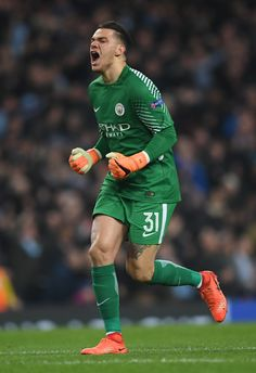 Ederson of Manchester City celebrates after his team score a goal which is later dissalowed during the UEFA Champions League Quarter Final Second Leg match between Manchester City and Liverpool at Etihad Stadium on April 2018 in Manchester, England. Germany Football Team, Football Players, Manchester England, Manchester City, Liverpool Uefa Champions League, Zen, Blue City, Football Pictures, April 10