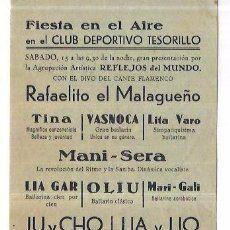 PROGRAMA. MELILLA. CLUB DEPORTIVO TESORILLO. CIRCO, BAILE, SAMBA. 1944