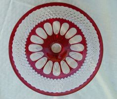 "Westmoreland Glass Waterford ""Ruby Bowl"" Glass Cake Stand Square Foot  #Westmoreland"
