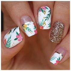 Want some ideas for wedding nail polish designs? This article is a collection of our favorite nail polish designs for your special day. Tropical Nail Designs, Flower Nail Designs, Cute Nail Designs, Tropical Flower Nails, Tropical Nail Art, Cute Nails, Pretty Nails, My Nails, Summer Acrylic Nails